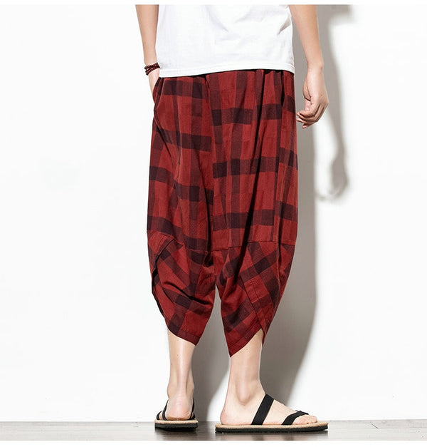 Streetwear Mens Cotton Beach Pants Male Summer Casual Calf-Length Pants Man Plaid Hip Hop Baggy Loose Trousers