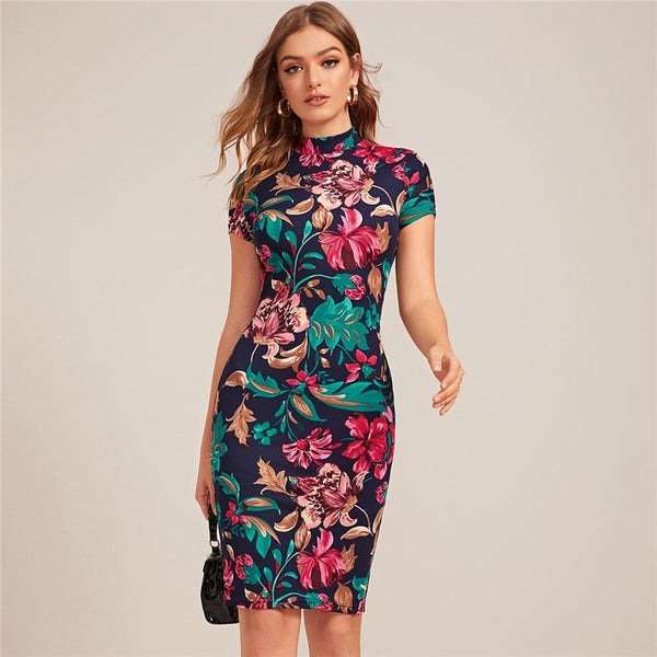 Multicolor Mock-Neck Form Fitted Floral Print Dress  Cap Sleeve Bodycon Elegant Pencil Midi Dresses
