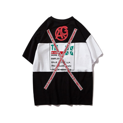 Letter Ribbons Sticker Hip Pop T-shirt for Men Patchwork Tops & Tees Casual T Shirt Streetwear Dance Hit Color Tshirt Print