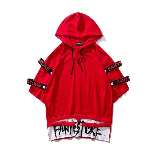 Letter Ribbons Fake Two Pieces T-shirts Hip Hop Patchwork Streetwear Hooded Hoody Men Pullover Casual Tshirt Tops Tees Tshirt
