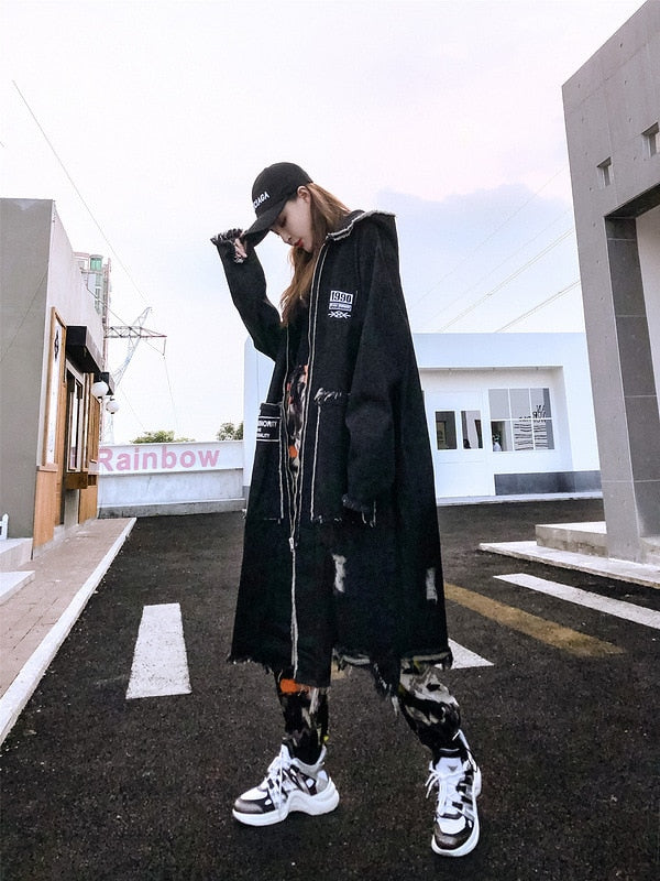 Hip Hop Hole Hooded Long Trench Jackets Coats Men Raw Edge Cloak Male Capes Gothic Punk Steampunk Overcoat Print Denim Full GUYI