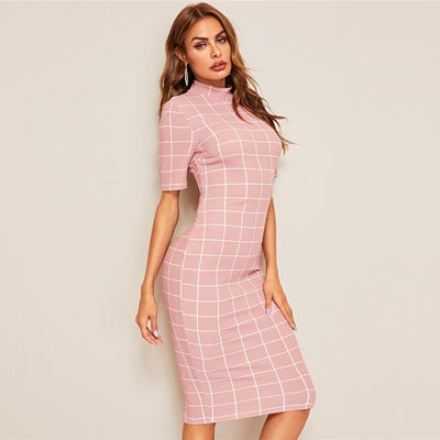Mock-Neck Grid Textured Pencil Dress Elegant Women Pink Zipper Stand Collar Summer Dress Short Sleeve Bodycon Dress