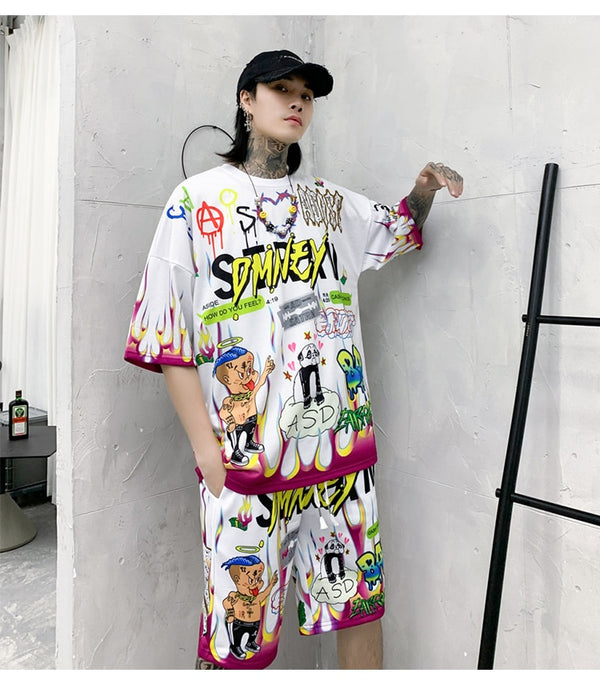 Men T Shirt Cartoon Graffiti Print Cozy Harajuku Hip Hop Style Lovers Streetwear