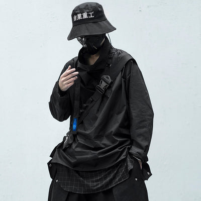 Solid Dark Pile Pile Collar Long Sleeve Hip Hop Streetwear Letter Embroidery Pullover Techwear Fashion Tops