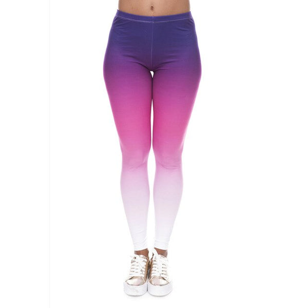 Hot sales Fashion Ombre Yellow Printed Women's Slim fit Legging workout Trousers Casual Polyester Pants Leggings