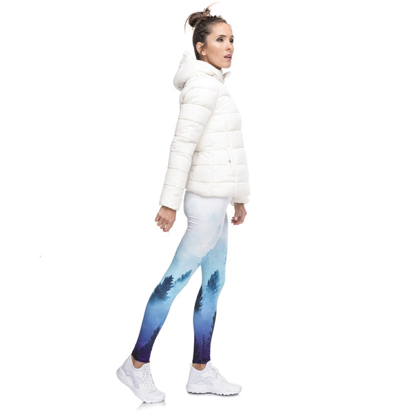 Fashion Streetwear Women Legging Forest Ombre Printing Blue Fitness Leggings Woman Pants