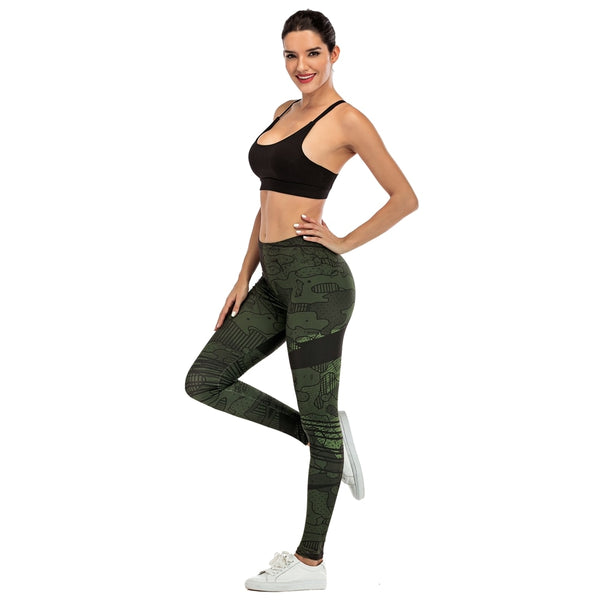 Women Legging Line Green graffiti Printing Fitness leggins Slim legins Soft and stretchy Leggings