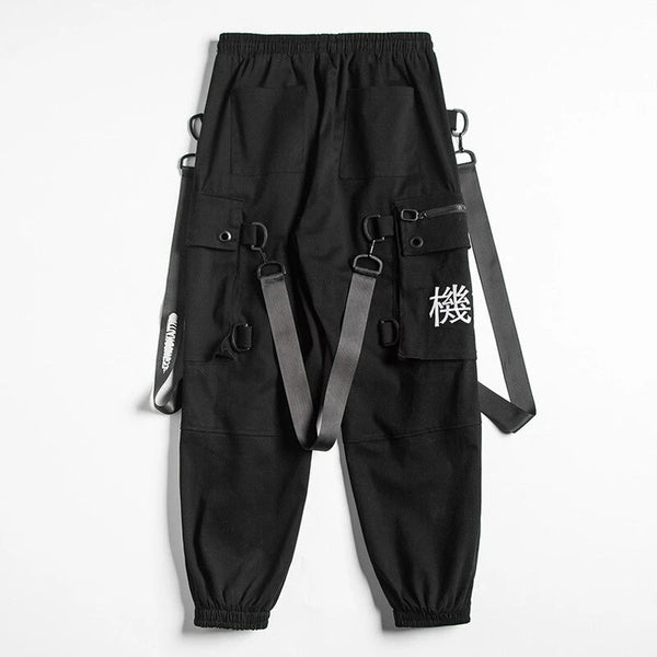 Kanji Ribbons Cargo Pants Men Multi Pockets Harajuku Hip Hop Streetwear Joggers Trouser Techwear Pants