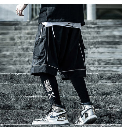 Reflective Hip Hop Shorts Mens  Summer Tactical Knee Length Male Short Pants Joggers Streetwear Cargo Shorts