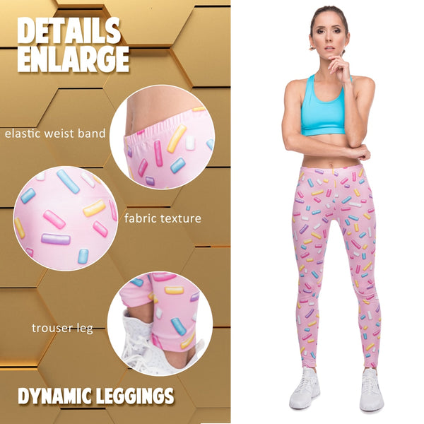 New leggins mujer Sprinkles Pink Printing legging sexy feminina leggins fitness Woman Pants workout leggings