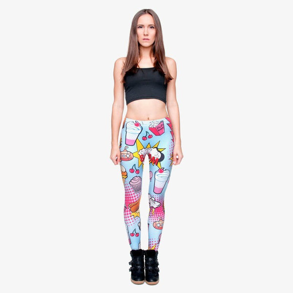 Fashion Fast Food Comix 3D Printing Punk Women Ladies Legging Stretchy Trousers Casual Pants Leggings