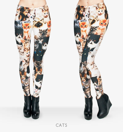 Fashion Animal Shapes Cats 3D Full Printing Punk Women Legging Slim Fit Trousers Casual Pants Leggings