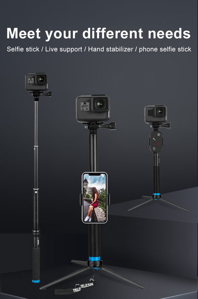 6 in 1 Extendable Aluminum Alloy Selfie Stick + Detachable Tripod Mount Phone Holder for GoPro SJCAM Xiaomi Yi Cameras