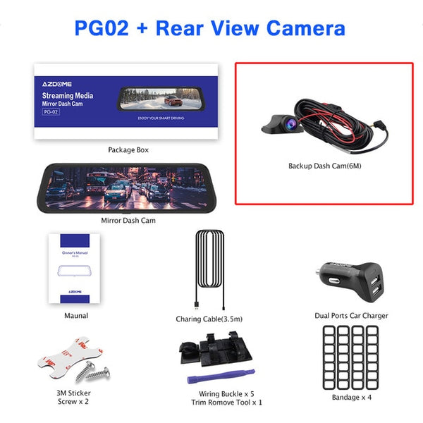 "PG02 10"" Mirror Dash Cam Streaming Media Full-Screen Touching ADAS Dual Lens Night Vision 1080P Front 720P Backup Car DVR"
