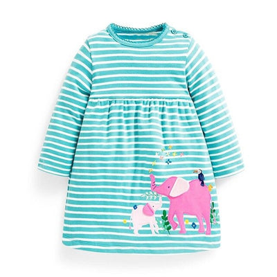 Toddler Dresses Girls Clothing 100% Cotton Long Sleeve Baby Girls Dress