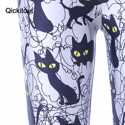 New Hot Sexy Women New Pants Womens Trousers Fashion Cute cartoon black cat Pant Capris Cute New Fitness