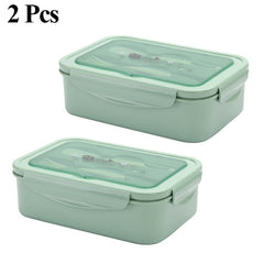 PP Lunch Box For Kids 2 or 1 Pcs Container Microwave Leakproof Food Fruit Storage Bento Box With Spoon And Fork New