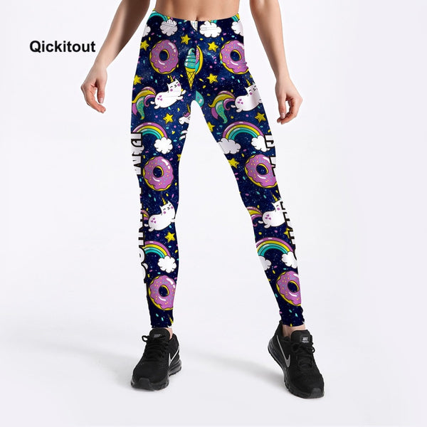 Women Summer Pants Cute Donuts Unicorns Printed Girl Leggings Plus Size S-XXXXL