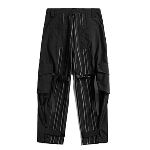 Stripe Ribbon Multi Pockets Cargo Pants Men Casual  Hip Hop Streetwear Harajuku Joggers Trousers Men