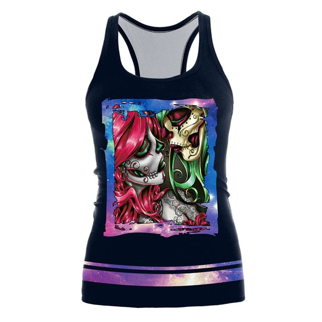 The Nightmare Before Christmas Tank Top for Women Corpse Bride Gothic Style Halloween Sleeveless Vest
