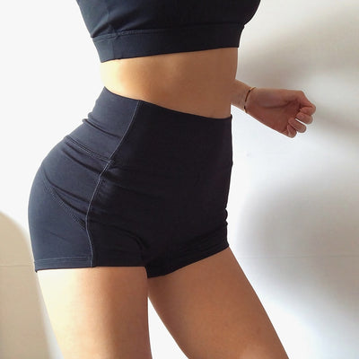 Women High Waist Solid Sport Workout Shorts Slim Tummy Control Gym Athletic Shorts