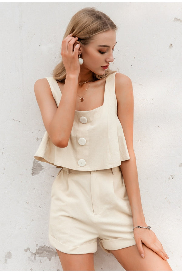 Simplee Casual two-piece women playsuits Sleeveless