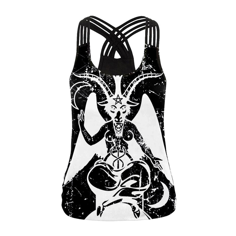 Magic Ouija Board Women Vest Sexy Backless Tops Gothic Witchy Black Tank Top Female Sleeveless Tops Plus Size