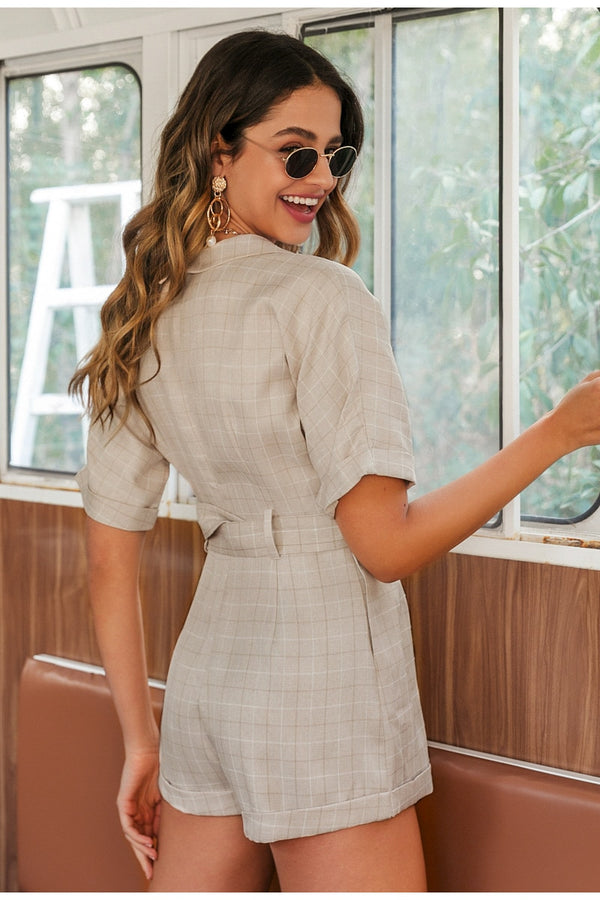 Simplee Classic plaid sash belt women playsuit Casual v-neck