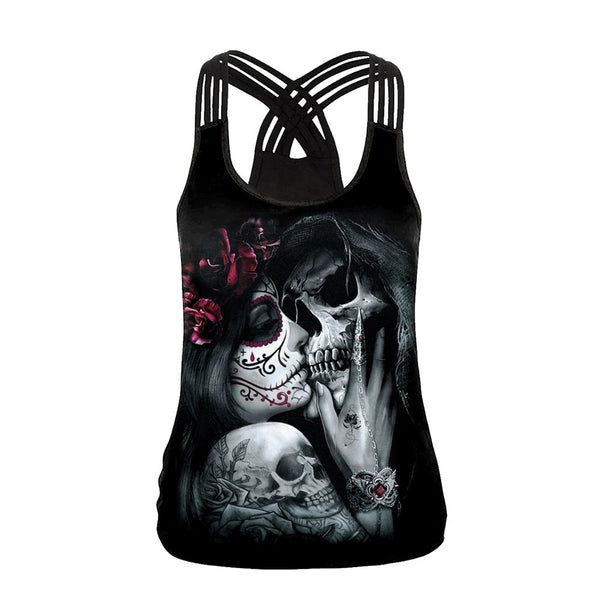Skull Girl Digital Print Women's Tank Tops Fantastic Gothic Style Sling Top Sexy Backless Vest