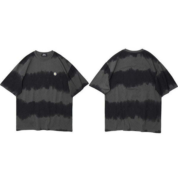 Men Hip Hop T Shirt Streetwear Tie Dye Stripe T-Shirt Harajuku Summer Short Sleeve