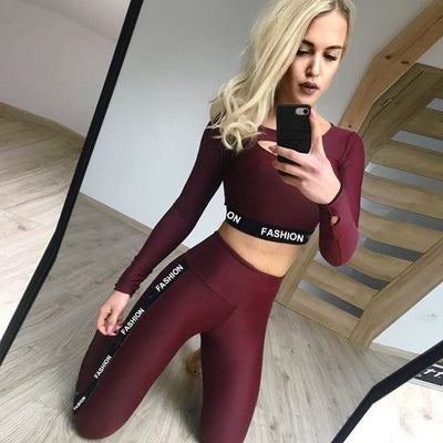 Women Fashion Letter Sport Leggings Bras Yoga Set Fitness Gym Wear