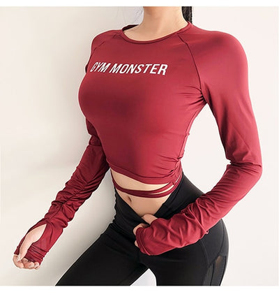 Women Sexy Long Sleeve Crop Top fitness camouflage Yoga shirt