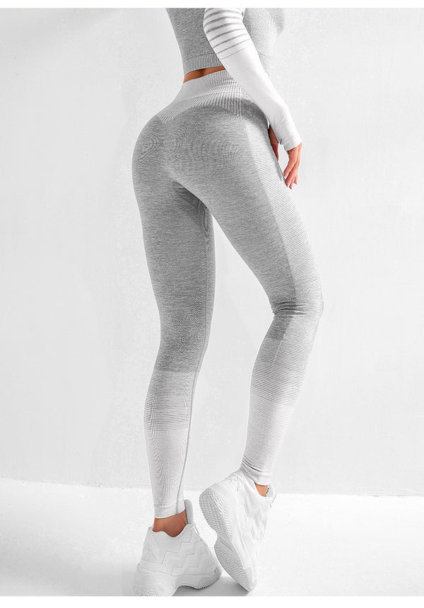 Women Striped Hip Enhancing Running Gym Fitness Leggings