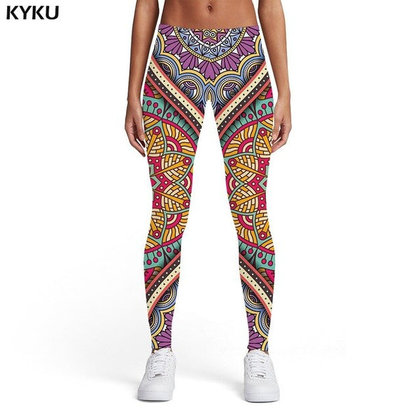 Flower Leggings Women Graphics Ladies Colorful 3d Print Vintage Printed pants Harajuku Leggins Womens Leggings Pants