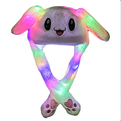 Funny Hat Women Men Kids Lighting Hat Cute Rabbit Ears Plush Ears Can Move Cap Children Shine Winter Warm Party Hat