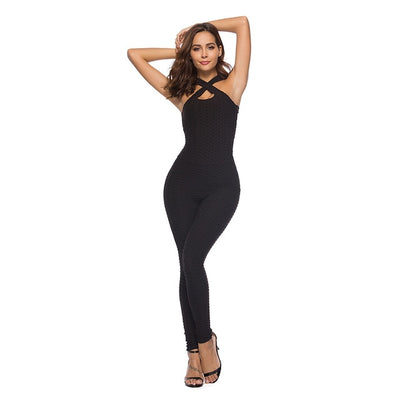 Jumpsuit Sports Women Sexy Halterneck Bodysuit for Workout Fitness Clothing