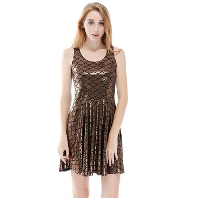 Summer Dress Sexy Women Fish Scales Bodycon Dress  Sleeveless Slim Club Party Female Ladies Dresses Plus Size