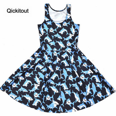 Girls Slim Women Dress Digital Print Submarine shark jump dress Summer Sleeveless Beach DRESS vestidos