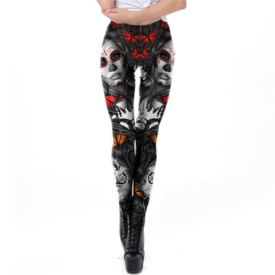3D Print Leggings For Women Halloween Skull Legging Rose Girl Pattern Workout Leggins For Fitness