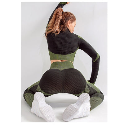 Seamless Workout Yoga Sets Women Stretchy Sport Fitness Suits