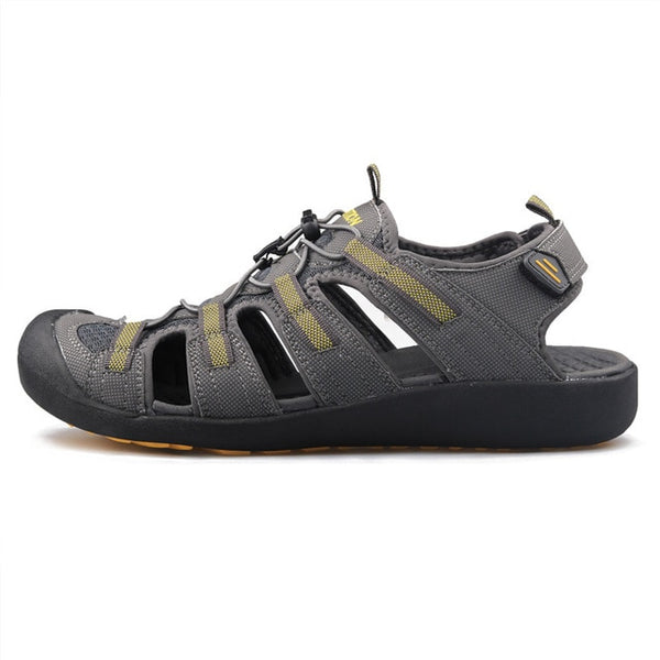 Men Outdoor Sandals Summer Breathable Flat Sole Beach Shoes Comfort Soft Walking Hiking Sandals Nubuck Leather 2020 New