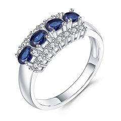 0.92Ct Natural Blue Sapphire Gemstone Ring 925 Sterling Silver Wedding Band Rings For Women Valentine's Day Jewelry