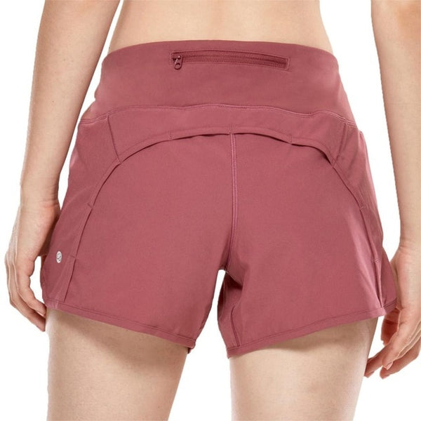 Women's Workout Sports Running Shorts Pants With Zip Pocket - 4 inch