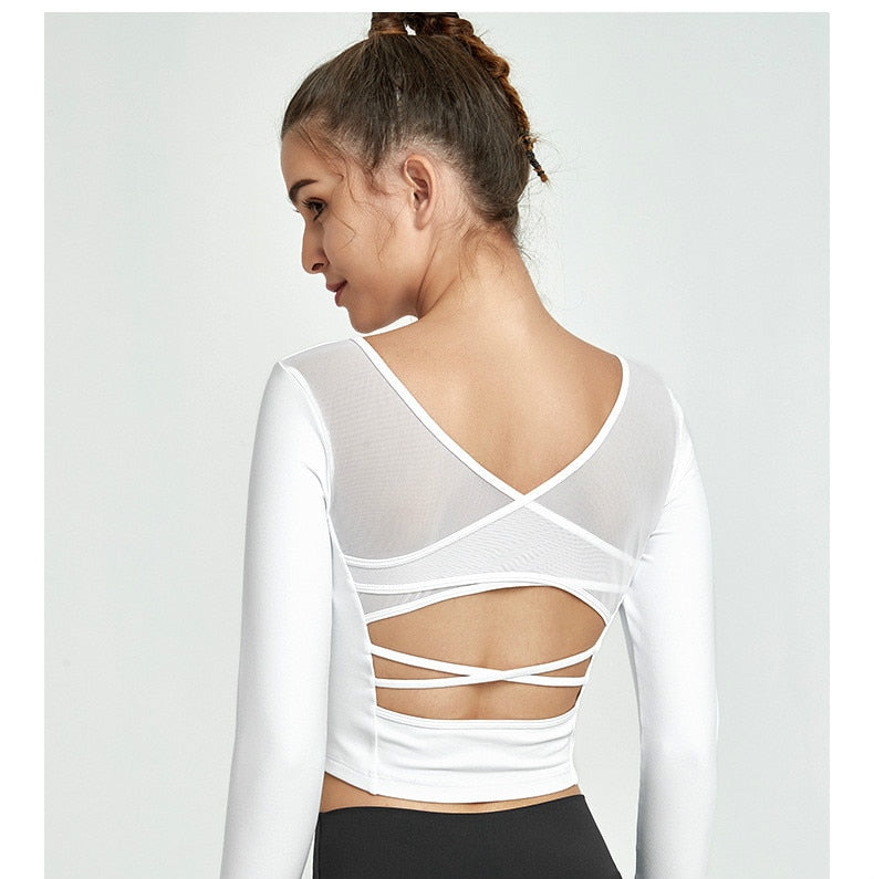 Mesh Patchwork Padded Sport Yoga Long Sleeved Crop Top Women