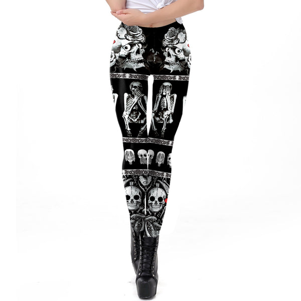Hollween Shy Skull Gothic Leggings for Women Cross Tomb Black Comic New Fashion Dropship Ankle Pants