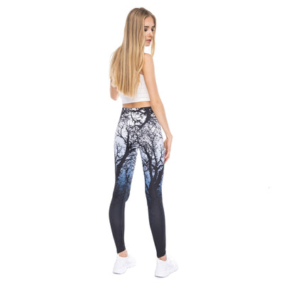 New Design Women Legging Trees Printing Blue Fitness Leggings Fashion High Waist Woman Pants