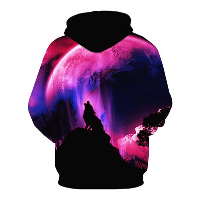 Fashion Galaxy Space 3D Hoodie bright wolf Print Hoodies Sweatshirts Men Women Unisex Hooded Pullovers Animal 3D Tops