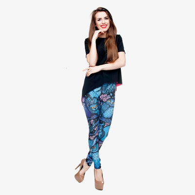 New Hot Night Owl Full Printing Pants Women Clothing Ladies fitness Legging Stretchy Trousers Skinny Leggings