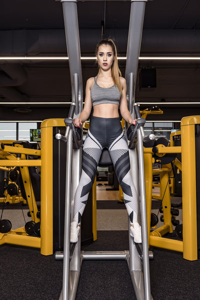 High Quality Women Legging Dark Gray Stripes Printing Fitness Leggings Fashion High Waist Woman Pants