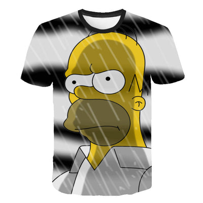 Men T-Shirt Funny Homer Simpson And his Son 3D Printed Shorts Sleeve T-shirt Fashion Casual Tops & Tees Brand Unisex Clothing